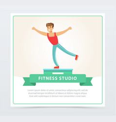 young man doing exercises on a platform fitness vector image vector image
