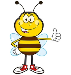Bumble bee cartoon giving the thumbs up vector