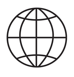 globe icon on white background globe sign flat vector image vector image