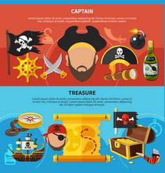 Pirate captain cartoon banners vector