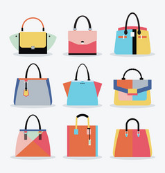 retro colorful women handbags and purse set vector image