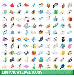 100 knowledge icons set isometric 3d style vector