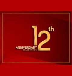 12 anniversary celebration logotype golden color vector