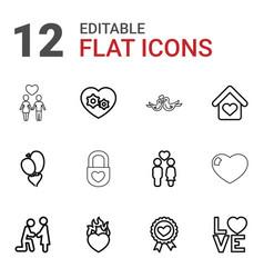 12 romantic icons vector