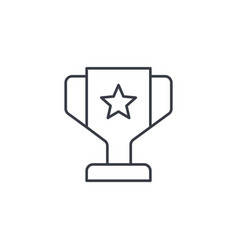 1st place golden trophy cup thin line icon linear vector image