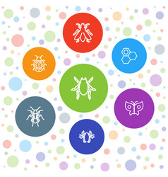 7 insect icons vector
