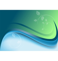 Abstract waves green blue background vector
