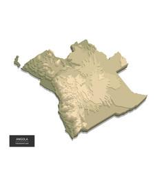 Angola map - 3d digital high-altitude topographic vector
