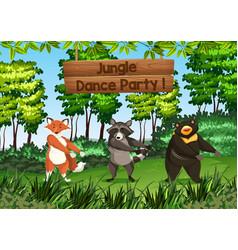 Animals dancing in jungle vector