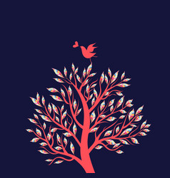 beautiful wonderful tree with a bird in love vector image