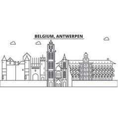 Belgium antwerpen architecture line skyline vector