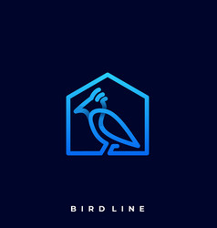 bird with house line art design concept template vector image