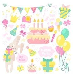 Birthday celebration attributes icons vector