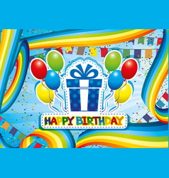 birthday congratulation with rainbows and balloons vector image