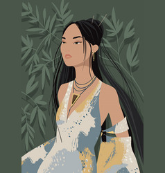 Black-haired beautiful young asian woman wearing vector