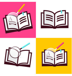 book icon flat design open books symbols with vector image