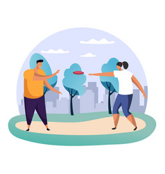 boy and girlman and woman playing frisbee at park vector image