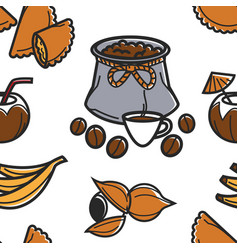 Brazilian food and drink seamless pattern coffee vector