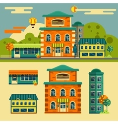 Buildings set Small town street landscape vector image vector image