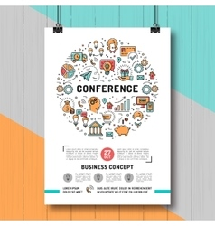 Business conference poster templates A4 size line vector image