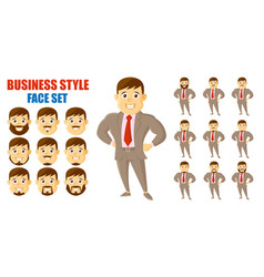 businessman face set cartoon character vector image
