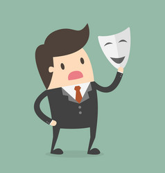 Businessman with white mask fraud concept vector