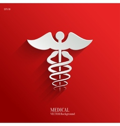 Caduceus Medical Symbol- white app icon vector image