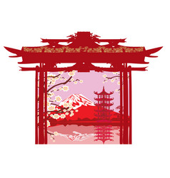 Card with asian landscape vector