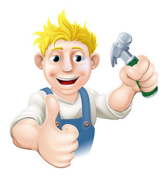Cartoon carpenter or construction guy vector