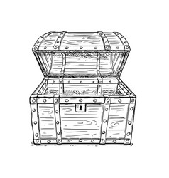 cartoon drawing old empty open pirate chest vector image