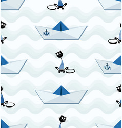 cat sailor and paper boat with an anchor vector image