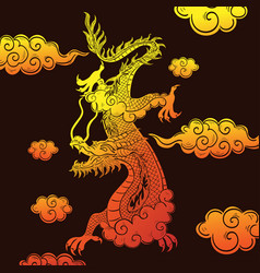 Chinese dragon yellow-red gradient on a brown vector