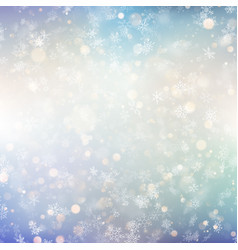 christmas background with white blurred snowflakes vector image