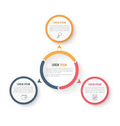 circle infographic template with three elements vector image