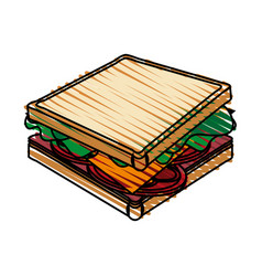 Color crayon stripe cartoon side view bread vector