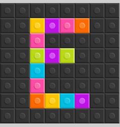 colorful brick block letter e flat design vector image