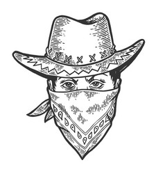 cowboy head bandit mask bandana sketch engraving vector image