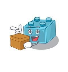 Cute lego brick toys cartoon character having a vector