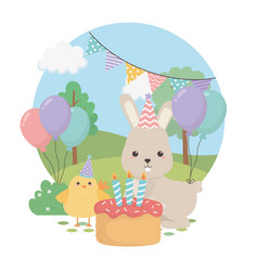 cute rabbit and chick in birthday party vector image