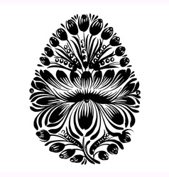 decorative floral silhouette easter egg vector image