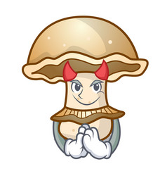 Devil portobello mushroom mascot cartoon vector