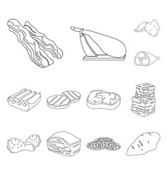 different meat outline icons in set collection for vector image