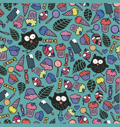 Endless wallpaper with cute crazy owls and candies vector