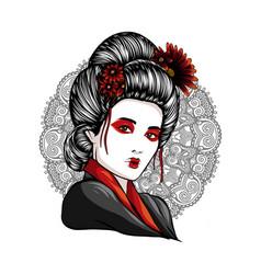 Face of a geisha drawn like a comic vector