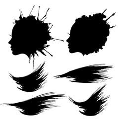 female head profile ink blot set vector image
