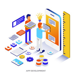 Flat color modern isometric - app development vector