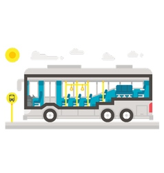 Flat design bus interior infographic vector image