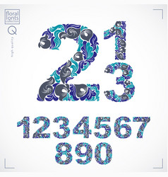 Floral numerals hand-drawn numbers decorated vector