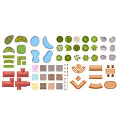 Garden landscape design elements aerial top view vector