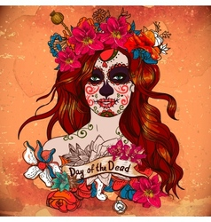 Girl with sugar skull day dead vector